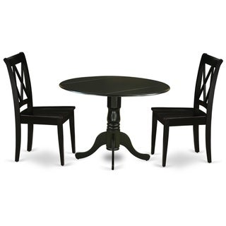 Round 42 Inch Table and Wood Seat Chairs Kitchen Set in Black Finish (Number of Chairs Option)