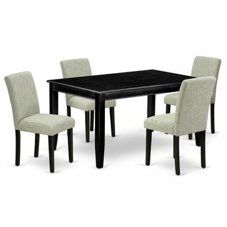 Rectangle 60 Inch Table and Parson Chairs in Shitake Linen Fabric (Number of Chairs Option)