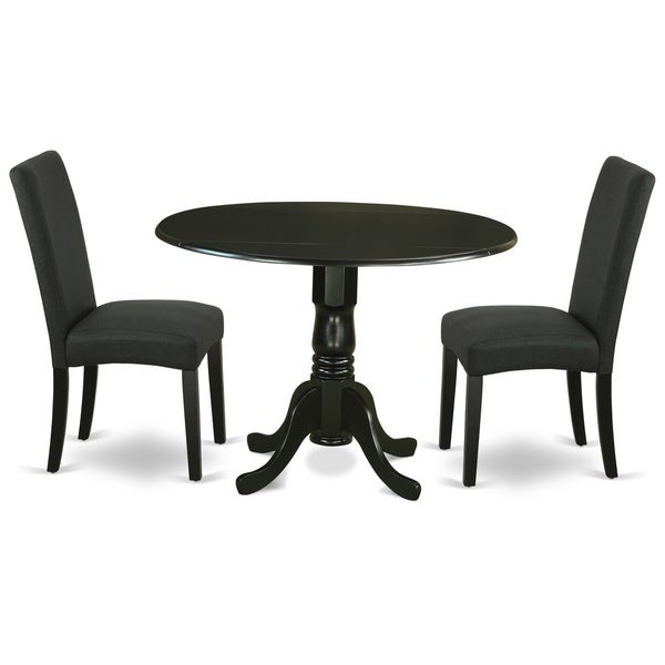 Round 42 Inch Table and Parson Chairs in Black Linen Fabric (Number of Chairs Option)