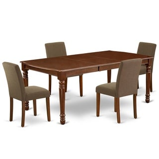 Rectangle 60/78 Inch Table and Parson Chairs in Coffee Linen Fabric (Number of Chairs Option)