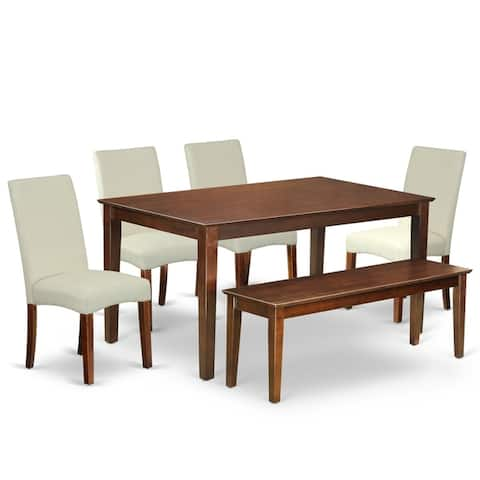 Rectangle 60 Inch Table and Parson Chairs in Cream Linen Fabric (Number of Chairs and Bench Option)