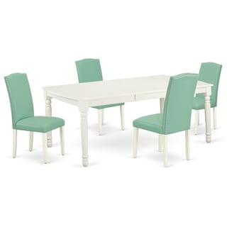 Rectangle 60/78 Inch Table and Parson Chairs in Pond PU Leather (Number of Chairs Option)