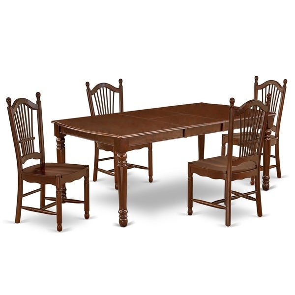 Rectangle 60/78 Inch Table and Wood Seat Chairs Kitchen Set in Mahogany Finish (Number of Chairs Option)
