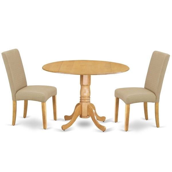 Round 42 Inch Table and Parson Chairs in Dark Khaki Linen Fabric (Number of Chairs Option)