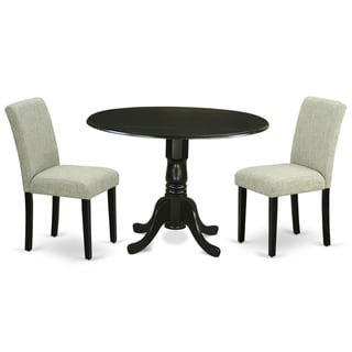 Round 42 Inch Table and Parson Chairs in Shitake Linen Fabric (Number of Chairs Option)