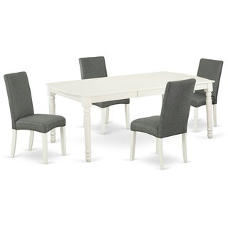 Rectangle 60/78 Inch Table and Parson Chairs in Gray Linen Fabric (Number of Chairs Option)