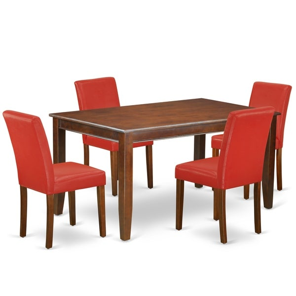 Rectangle 60 Inch Table and Parson Chairs in Firebrick Red PU Leather (Number of Chairs Option)