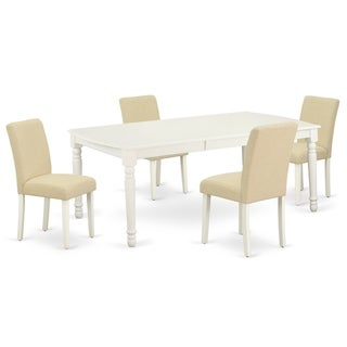 Rectangle 60/78 Inch Table and Parson Chairs in Light Beige Linen Fabric (Number of Chairs Option)