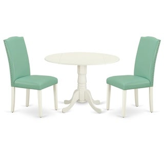 Round 42 Inch Table and Parson Chairs in Pond PU Leather (Number of Chairs Option)