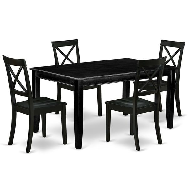 Rectangle 60 Inch Table and Wood Seat Chairs Kitchen Set in Black Finish (Number of Chairs Option)