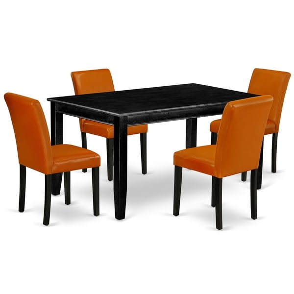 Rectangle 60 Inch Table and Parson Chairs in Baked Bean PU Leather (Number of Chairs Option)
