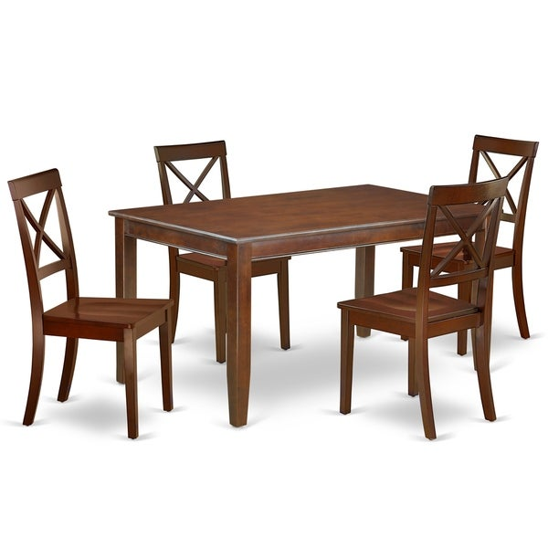 Rectangle 60 Inch Table and Wood Seat Chairs Kitchen Set in Mahogany Finish (Number of Chairs Option)