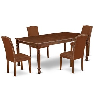 Rectangle 60/78 Inch Table and Parson Chairs in Brown PU Leather (Number of Chairs Option)