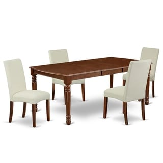 Rectangle 60/78 Inch Table and Parson Chairs in Cream Linen Fabric (Number of Chairs Option)