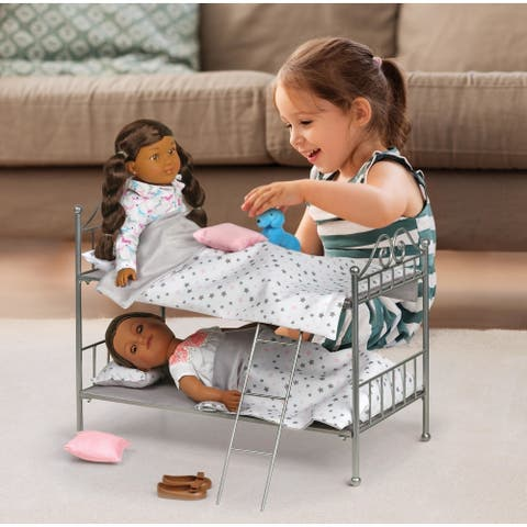 Badger Basket Scrollwork Metal Doll Bunk Bed with Ladder and Bedding
