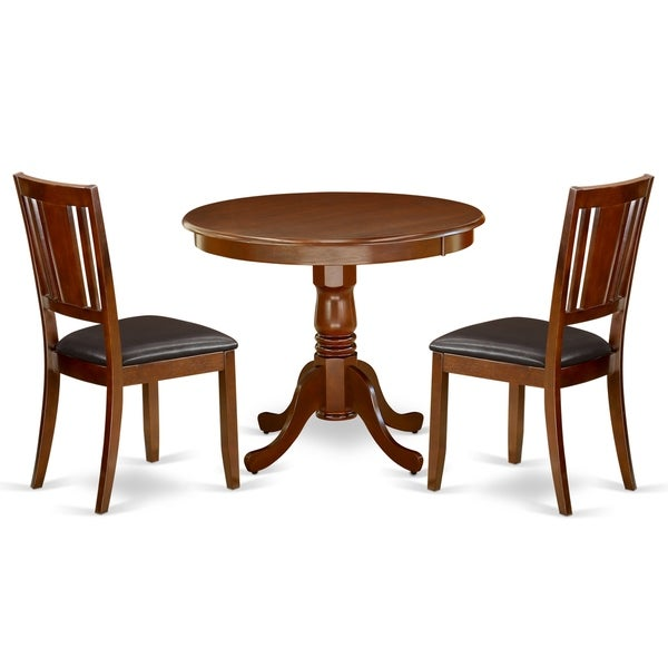 Round 36 Inch Table and Faux Leather Seat Chairs Kitchen Set in Mahogany Finish (Number of Chairs Option)