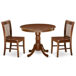 Round 36 Inch Table and Wood Seat Chairs Kitchen Set in Mahogany Finish (Number of Chairs Option)