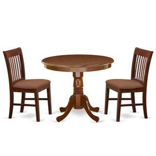 Round 36 Inch Table and Microfiber Seat Chairs Kitchen Set in Mahogany Finish (Number of Chairs Option)