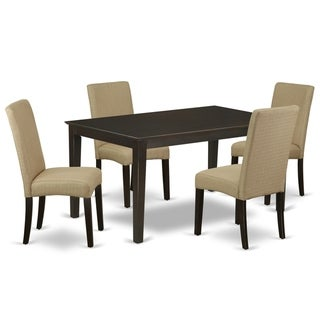 Rectangle 60 Inch Table and Parson Chairs in Brown Linen Fabric (Number of Chairs and Bench Option)