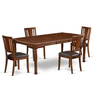 Rectangle 60/78 Inch Table and Faux Leather Seat Chairs Kitchen Set in Mahogany Finish (Number of Chairs Option)
