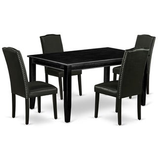 Rectangle 60 Inch Table and Parson Chairs in Black PU Leather (Number of Chairs Option)