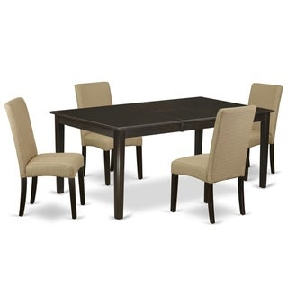 Rectangle 54/72 Inch Table and Parson Chairs in Brown Linen Fabric (Number of Chairs Option)