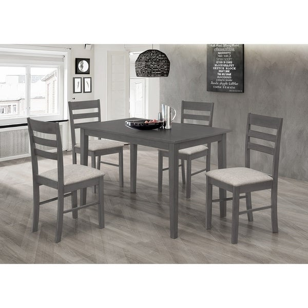 Best Quality Furniture 5-Piece Grey Rustic Dinette Set with Ladderback Chairs