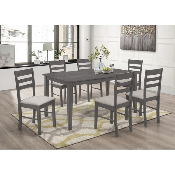 Best Quality Furniture 7-Piece Dining Set with Ladderback Chair