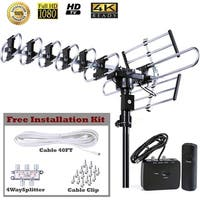 FiveStar Outdoor HDTV Antenna Up to 200 Miles Long Range with 360 Degree Rotation, Remote Control Plus Installation Kit