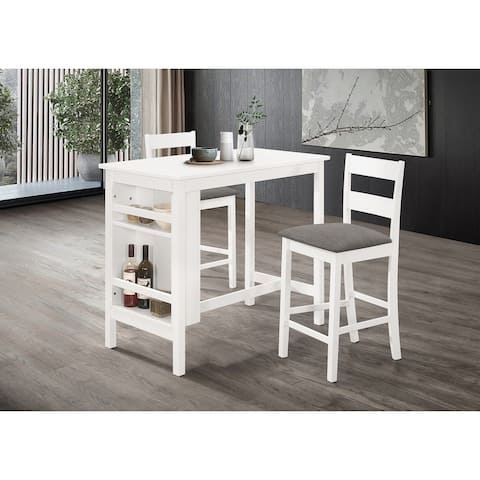 Best Quality Furniture 3-Piece White Counter Height Dining Set with Shelf Storage