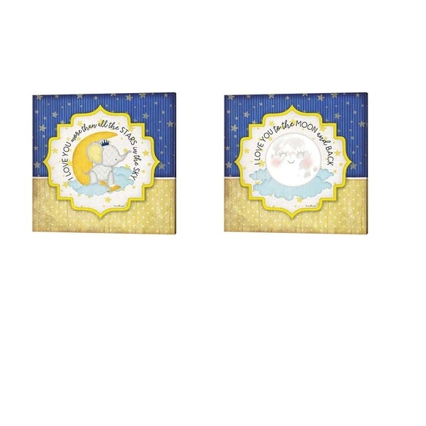Jennifer Pugh 'I Love You More Than All the Stars & I Love You to the Moon & Back' Canvas Art (Set of 2)
