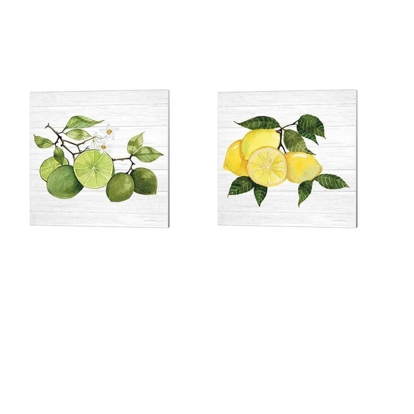 Kathleen Parr McKenna 'Citrus Garden Shiplap A' Canvas Art (Set of 2)
