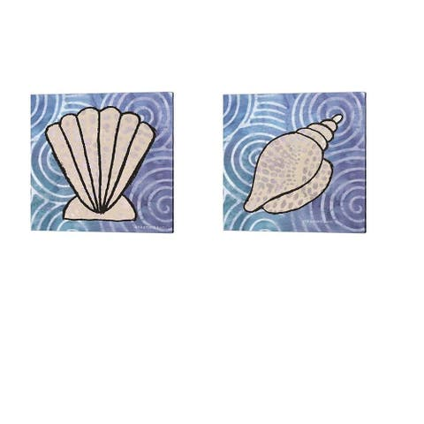 Bluebird Barn 'Whimsy Coastal Clam & Conch Shell' Canvas Art (Set of 2)