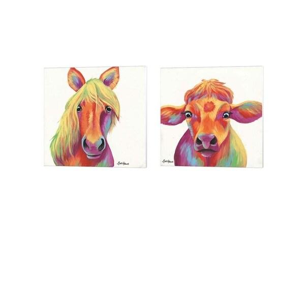 Britt Hallowell 'Cheery Horse & Cow' Canvas Art (Set of 2)