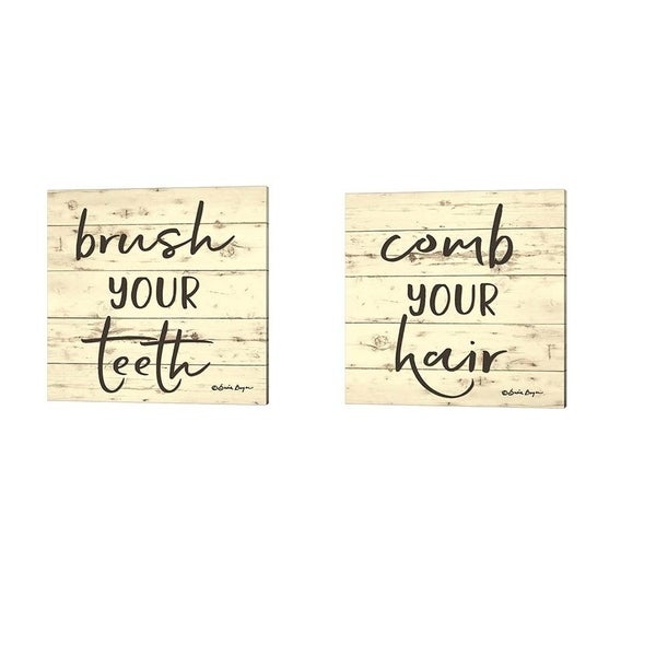 Susie Boyer 'Brush Your Teeth & Comb Your Hair' Canvas Art (Set of 2)