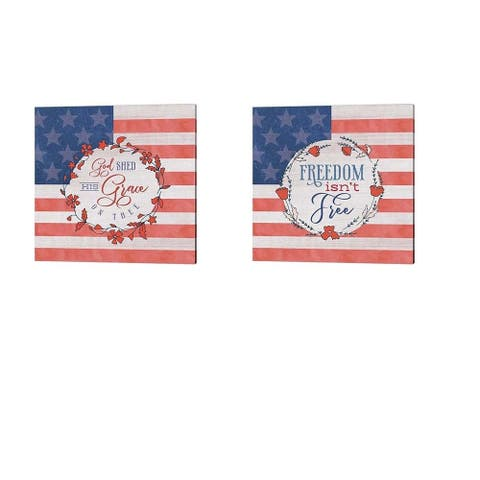 Tammy Apple 'God Shed His Grace & Freedom Isn't Free' Canvas Art (Set of 2)