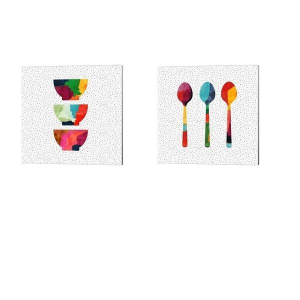 Linda Woods 'Wild Bowls & Spoons' Canvas Art (Set of 2)