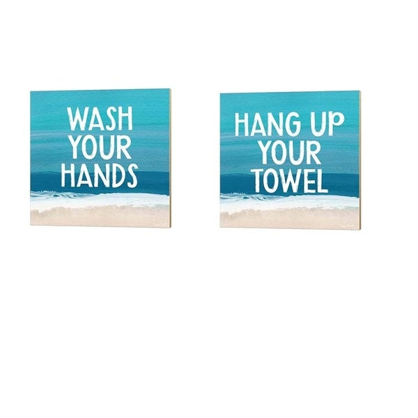 Linda Woods 'Wash Your Hands & Hang Up Your Towel' Canvas Art (Set of 2)