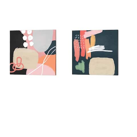 Linda Woods 'Abstract Shapes' Canvas Art (Set of 2)