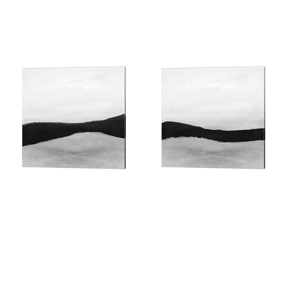 Linda Woods 'Black and White Abstract' Canvas Art (Set of 2)