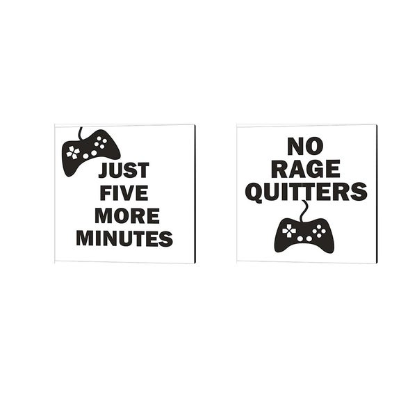 Linda Woods 'No Rage Quitters & Five More Minutes (BW)' Canvas Art (Set of 2)