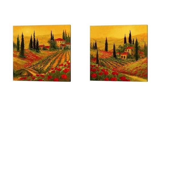 Art Fronckowiak 'Poppies of Toscano' Canvas Art (Set of 2)