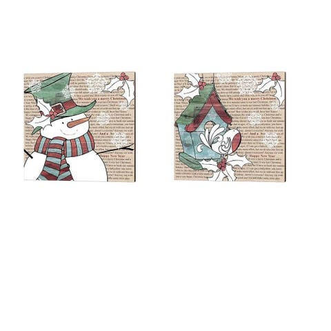 P.S. Art Studios 'Snowman & Birdhouse' Canvas Art (Set of 2)