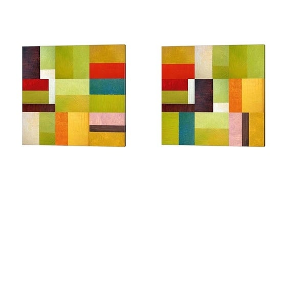 Michelle Calkins 'Color Study Abstract' Canvas Art (Set of 2)