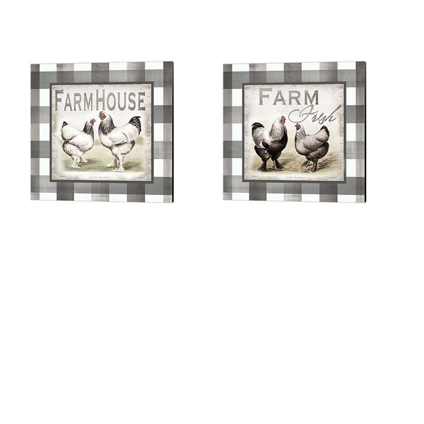 Tre Sorelle Studios 'Buffalo Check Farm House Chickens Neutral' Canvas Art (Set of 2)