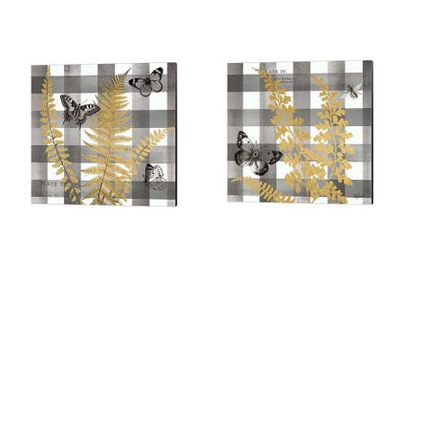 Tre Sorelle Studios 'Buffalo Check Ferns and Butterflies Neutral' Canvas Art (Set of 2)