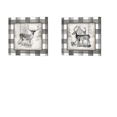Tre Sorelle Studios 'Buffalo Check Deer Neutral' Canvas Art (Set of 2)