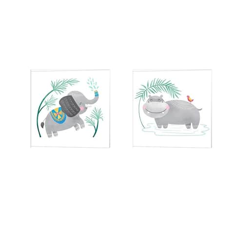 Noonday Designs 'Playful Pals -Elephant & Hippo' Canvas Art (Set of 2)