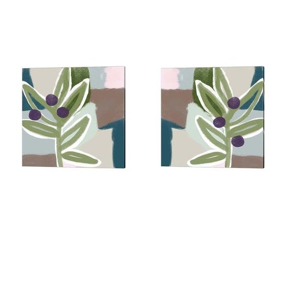 Linda Woods 'Olive Abstract' Canvas Art (Set of 2)