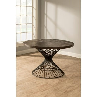 Kanister Round Dining Table - Pewter/Walnut
